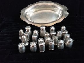 Lot 037 Lot of 24 Sterling Silver individual Salts in Silverplate Bowl 10.5 Long w/Salt Shakers Approx. 1-1.5 tall some dented