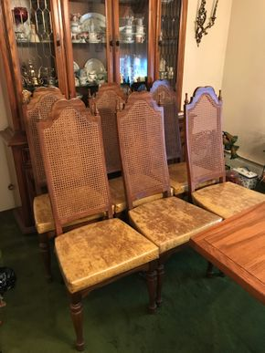 Lot 003 Lot of 6 Cane Back Dining Room Chairs. 46H X 17.5W X 19.25L. PICK UP IN BELLMORE.