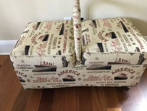 Lot 043 French Heritage Basket Storage Ottoman 17H x 21W x 37.5L PICK UP IN LAWRENCE