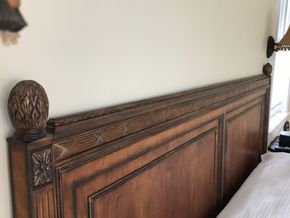 Lot 047 King Sized Wood Bed 52 Inches Tall PICK UP IN LAWRENCE