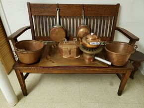 Lot 030 DELIVERY/Lot of 7 Vintage Copper Cookware (Bench Not included)   PICK UP IN WHITESTONE, NY