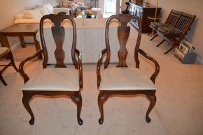 Lot 004 Lot of 2 Wood Upholstered Arm Chairs 40H x 21 x 17.5  PICK UP IN GLEN COVE, NY