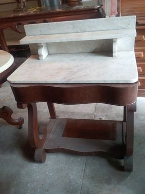 Lot 013 Table With Removable Marble Top with Shelf 36.5H x 19W x 28.25L PICK UP IN ROCKVILLE CENTRE