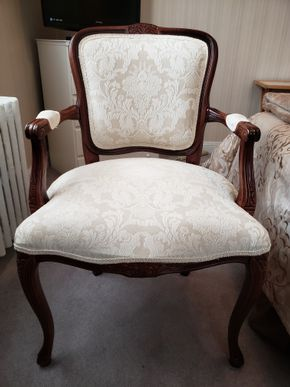 Lot 008 Upholstered Queen Anne Arm Chair 36H x 23.4W x 21.5D PICK UP IN WHITESTONE, NY