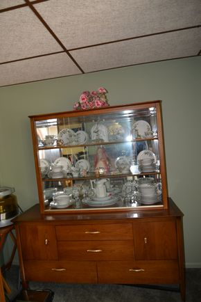 Lot 005 Pick Up Wood /Glass China Cabinet  with 4Drawers 72H x 60W x 21L ( CONTENTS NOT INCLUDED) PICK UP IN FLORAL PARK, NY
