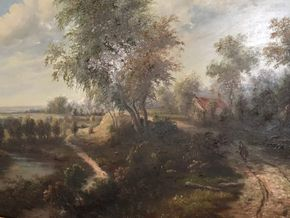 Lot 027 Decorative 20th century Oil on board Landscape Signed by Humphrey 28.5W X 24H with frame PICK UP IN RVC