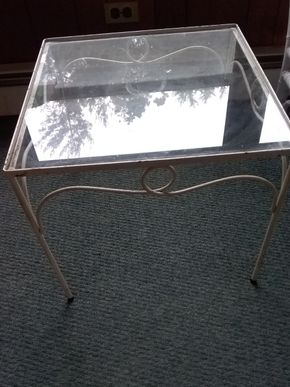 Lot 012 Pair Of Glass And Metal End Tables 16H x 18.5W x 18.5L PICK UP IN NORTHPORT