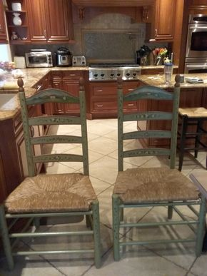 Lot 094 Pair Of Hand Painted Ladderback Chairs 45H x 17W x 23.5L PICK UP IN GARDEN CITY