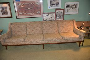 Lot 036 Danish Modern 1960s 4 Seat Upholstered Couch 91L x 29W x 29H PICK UP IN LYNBROOK