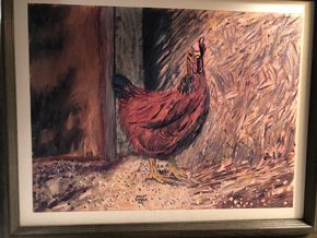 Lot 018 Oil on Canvas Rooster Scene Signed Fred Sambur 1951 18L x 14W plus Frame