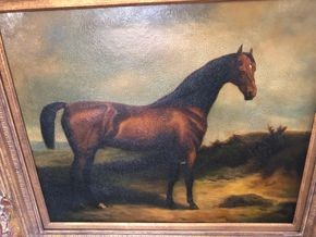 Lot 022 Late 20th century decorative painting of a horse 32x29 with frame PICK UP IN RVC