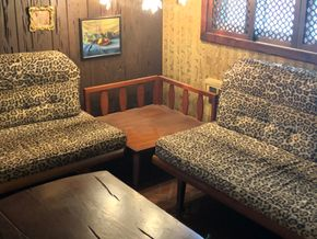 Lot 015 Mid Century Lot of 2 couches and corner table Couches 77Longx37H and Table 31W PICK UP IN EAST MEADOW
