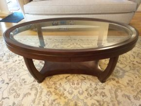 Lot 034 Wood and Glass Coffee Table 19H x 27.5 x 47.5L PICK UP IN COMMACK