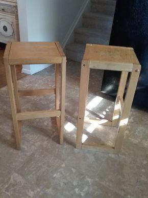 Lot 024 Pair Of Wood Stools 27.5 h x 12.5w x 12.5L PICK UP IN BELLE HARBOR