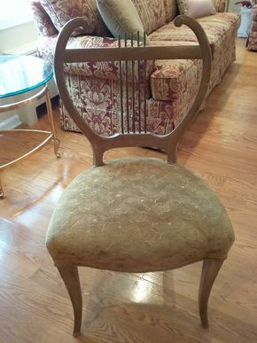 Lot 018 Harp Back Wood and Upholstered Chair 35.5H x 17W x 20L PICK UP IN GARDEN CITY