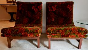 Lot 002 PU Lot of 2 1960s Upholstered Slipper Chairs  30.625H x 48W x 18D PICK UP IN GREAT NECK, NY