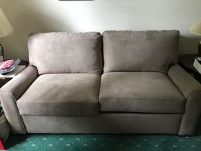 Lot 027 Jensen Lewis Microfiber Sleeper Sofa 33.25H x 41.5W x 75L PICK UP IN MANHASSET