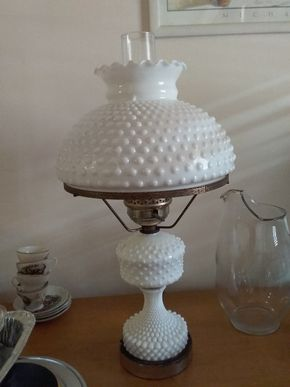 Lot 031 Hobnail Hurricane Lamp 22 inches Tall PICK UP IN HOWARD BEACH