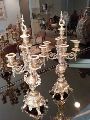 Lot 054 Set Of Brass Candelabras  20 Inches Tall PICK UP IN OLD BROOKVILLE