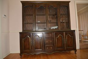 Lot 008 Wood China Cabinet with Glass doors (contents not included)74H x19W x74L  PICK UP IN CATHEDRAL GARDENS HEMPSTEAD NY