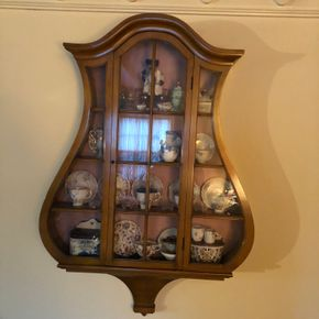 Lot 016 Wall Hanging Harp Shaped Curio Display Cabinet 33W x 50H x 6D
