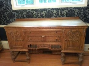 Lot 003 Hand Carved Oak Buffet 40H x 21 W x 66L PICK UP IN ROCKVILLE CENTRE