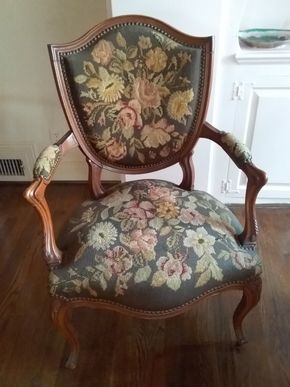 Lot 072 Antique Wood and Needlepoint Chair 37H x 25.5W x 25L PICK UP IN PORT WASHINGTON