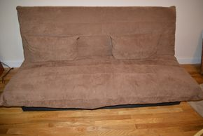 Lot 013 Upholstered Futon Couch 37H x 75W x 31D PICK UP IN MINEOLA, NEW YORK