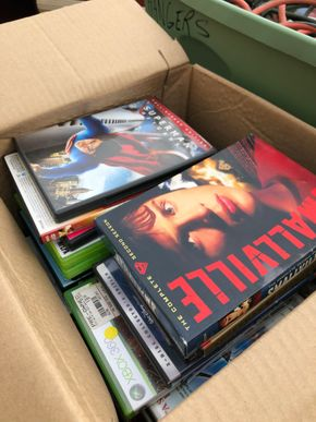 Lot 003 Box of over 20 DVD Movies and XBox 360