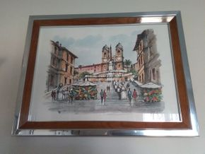 Lot 018 Framed Signed  Italian Water Color  Spanish Steps 19 x 13.5 PICK UP IN N MASSAPEQUA