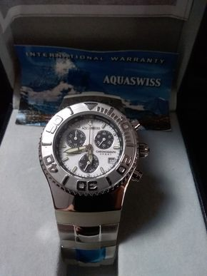 Lot 048 Aquaswiss Silver and White Watch PICK UP IN GARDEN CITY