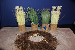 Lot 036 Decorative Grass and Wreath ITEMS CAN BE PICKED  UP IN WESTBURY