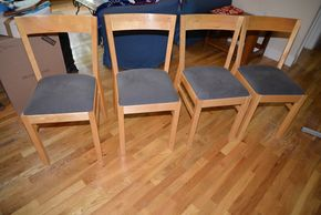 Lot 015 Lot of 4 Dining Chairs Wood/Upholstered Seats  32.5H x 15W x 16.5L PICK UP IN MINEOLA, NEW YORK