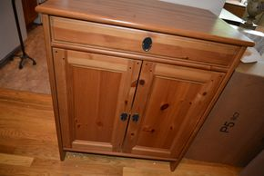 Lot 020 1 Drawer Wood Cabinet 32.5H x 26.5W x 17L PICK UP IN MINEOLA, NEW YORK