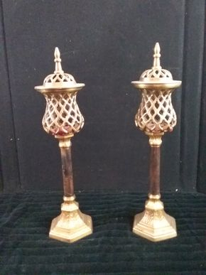 Lot 040 Pair of Covered Candleholders by Bombat Co. 16 inches Tall