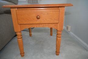 Lot 001 Oak Wood 1 Drawer Table 21H x 22W x 24.75L PICK UP IN SEAFORD, NY