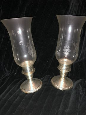 Lot 013 Pair of Sterling Silver Candlesticks w/etched glass hurricane globes 10H x 3W