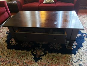 Lot 038 Wood 1 Drawer Coffee Table 20H x 57W x 30L  PICK UP IN GARDEN CITY, NY