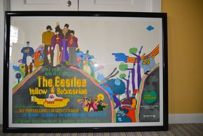 Lot 028 Pick Up FRAMED Yellow Submarine Beatles Poster 25.75H x 39W  PICK UP IN ROCKVILLE CENTRE