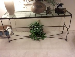 Lot 022 Metal and Glass Sofa Table 26H x 15.5W x 56.5 PICK UP IN MANHASSET