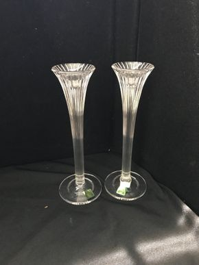 Lot 024 Lot Of Two Marquis Waterford Crystal Candlestick Holders. 10 Inches H. PICK UP IN STONY BROOK.