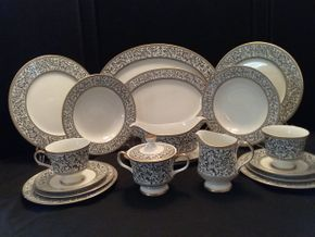 Lot 016 Sango China Service for 12 with 2 serving Platters Gravy  Server Cream And Sugar and Serving Bowl  PICK UP IN BELLE HARBOR