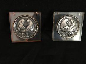 Lot 137 Pair of Sterling and Lucite Compacts 3 x3 PICK UP IN GARDEN CITY