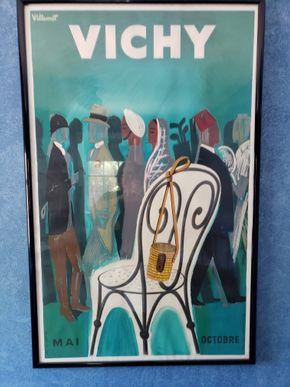 Lot 027 Vichy France Resorts Spas Bernard Villemot Vintage World Travel Art Poster Print Framed Dimensions Approx. 24 x 36 PICK UP IN ROCKVILLE CENTRE,NY