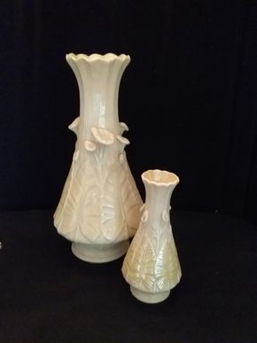 Lot 058 Pair of Belleek Vases 13.5 and 7.7 Inches Tall PICK UP IN ROCKVILLE CENTRE