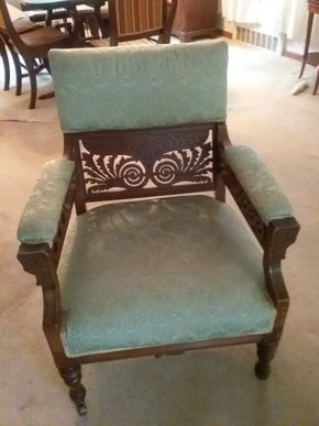 Lot 002 Wood and Upholstered Chair 33Hx 24W x 26l PICK UP IN NORTHPORT