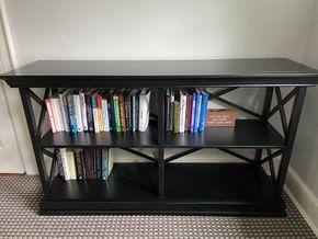 Lot 021 Dark wood bookshelf 60in L X 17in W X 24in H PICK UP IN GARDEN CITY 1
