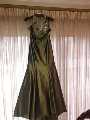 Lot 038 Sugarplum Iridescent Olive Green and Jeweled Halter Top Full Length Evening Gown With Small Train Size 6-8 PICK UP IN GARDEN CITY