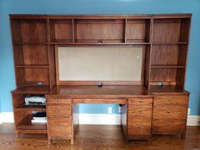 Lot 005 Pd Delivery /3 Piece Desk Set 2 Side Book Shelves 74H x 22W x 18D /7 Drawer Desk upper storage 74H x 60W x 23.5D Dimensions Approx. PICK UP IN GARDEN CITY,NY