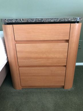 Lot 045 Lot Of Two Wood /Formica End Tables With Three Drawers. 28H X 19.5W X 27L. PICK UP IN ROCKVILLE CENTRE.